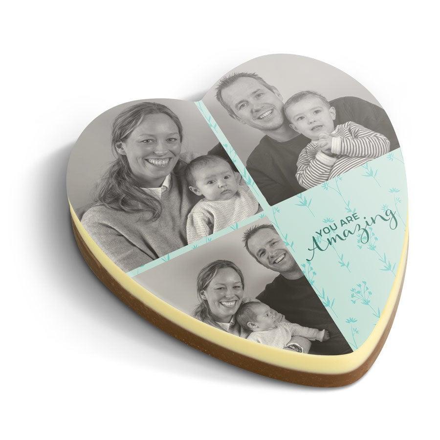 Tarjeta de chocolate impresa - Corazón
