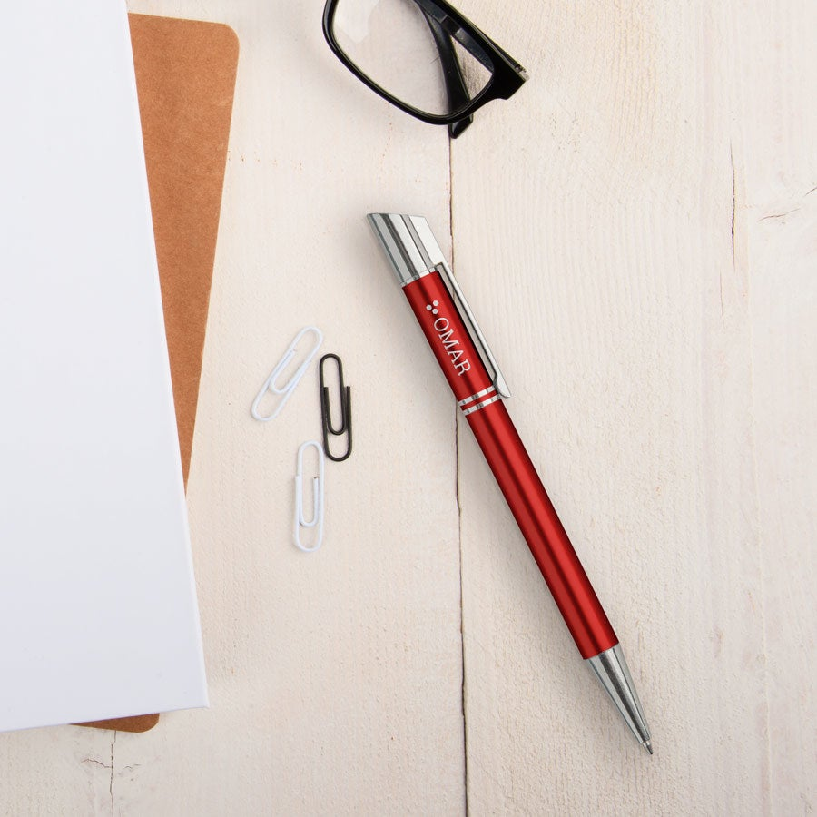 Viva-kynät - Tess - kaiverrettu kuulakärkikynä - Punainen (vasenkätinen)