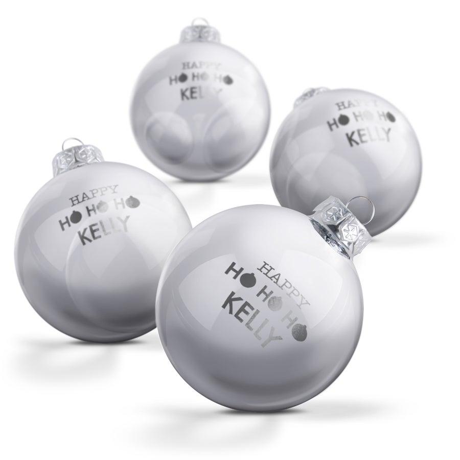 Glazen kerstbal met naam - Zilver (4 stuks)
