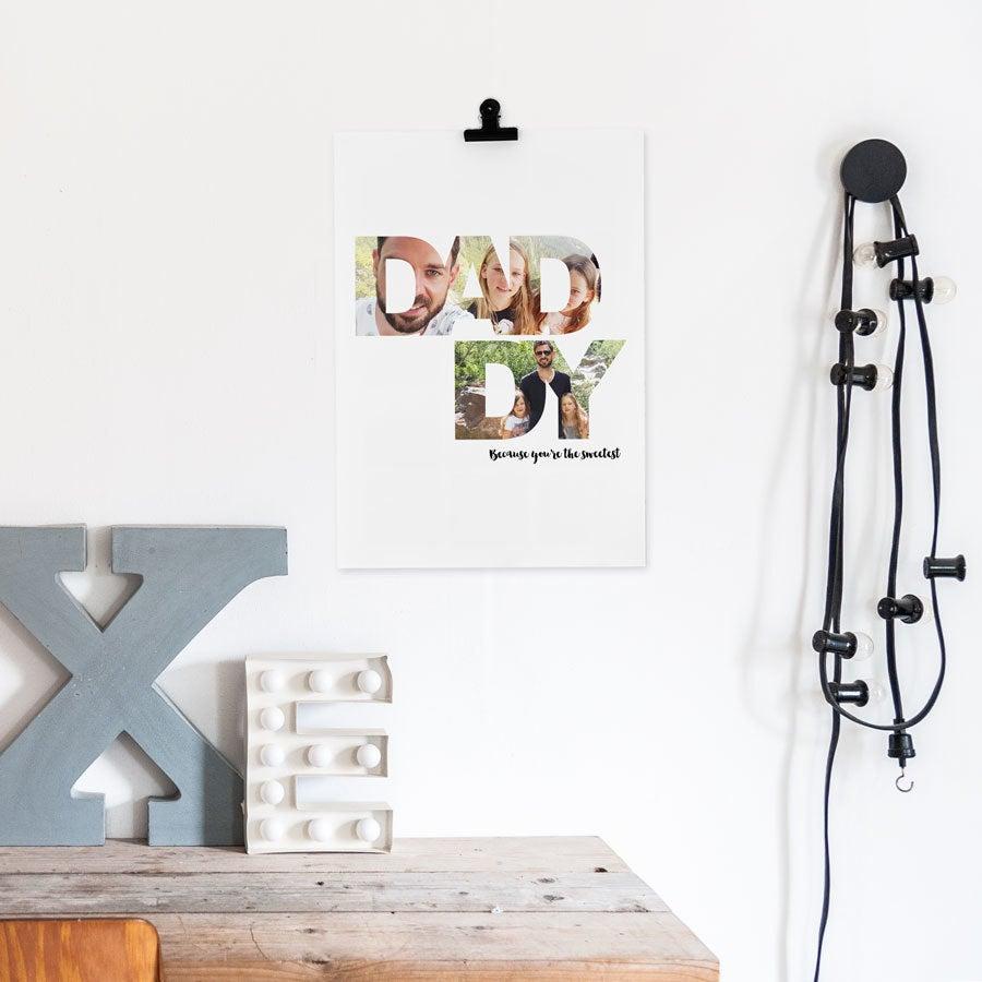'Pappa og meg' bilde collage plakat - 40 x 50 cm
