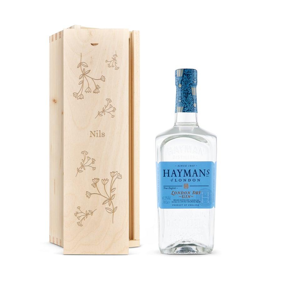 Gin i låda med gravyr- Hayman's London Dry