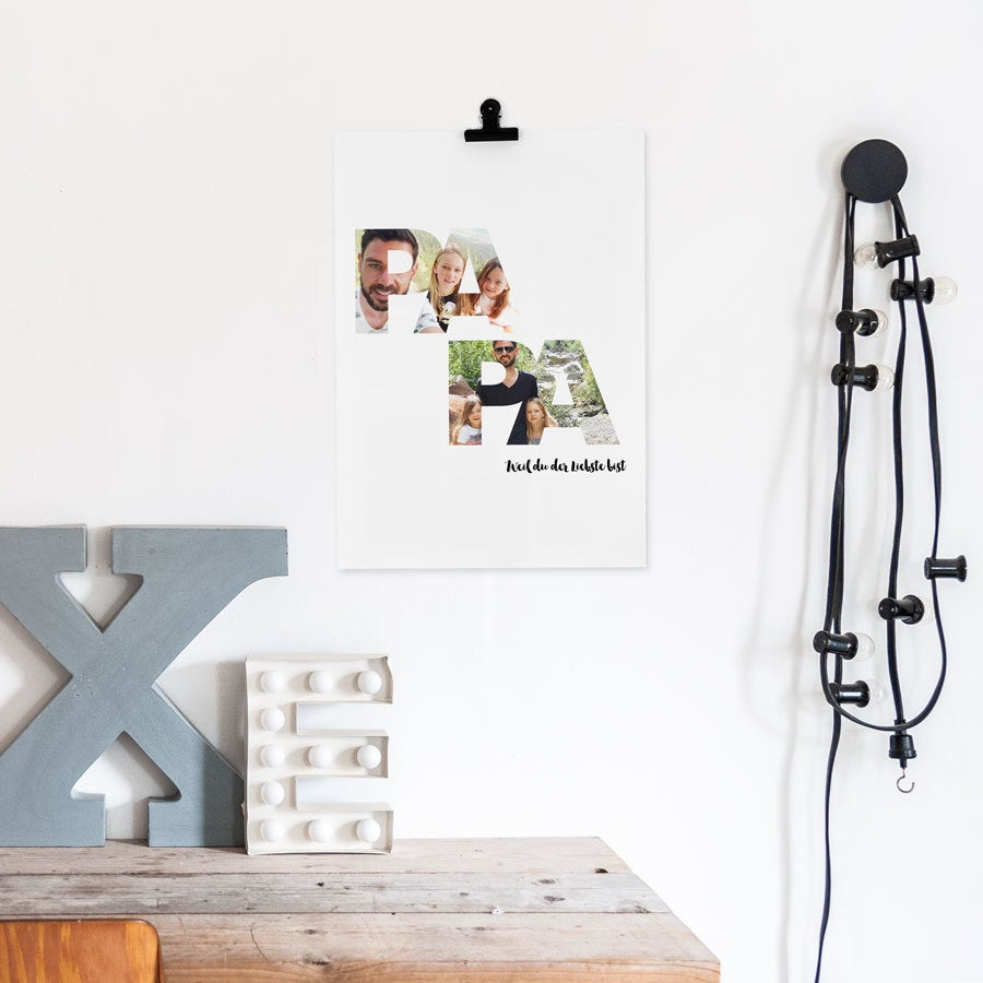 Foto Collage Poster - Papa & ich (40 x 50 cm)
