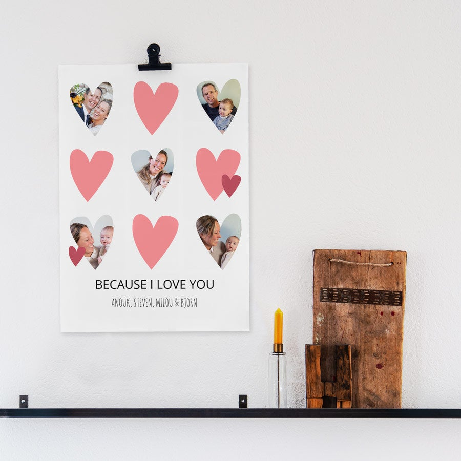"""Mamma og meg"" bildecollage-plakat - 40 x 50 cm"