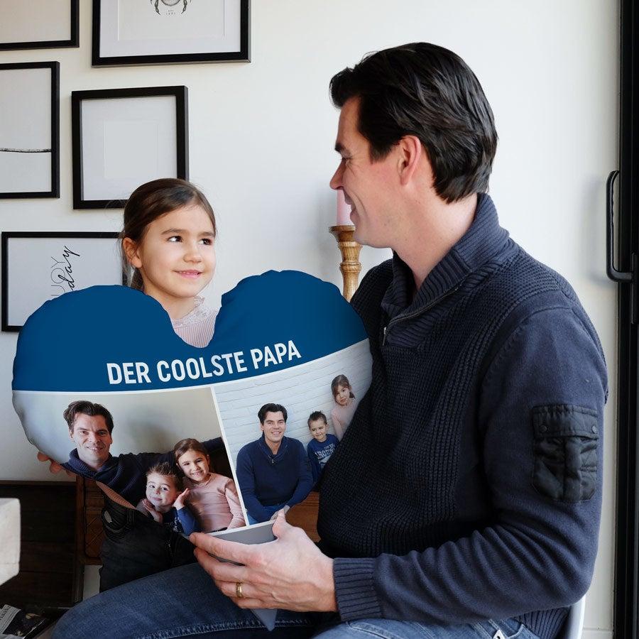 Vatertagsgeschenk Herzkissen beidseitig - Samtkissen - 60x60