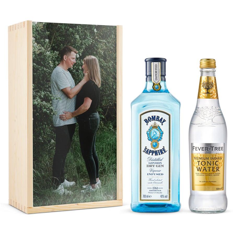 Coffret personnalisé Gin-Tonic - Bombay Sapphire - Couvercle imprimé