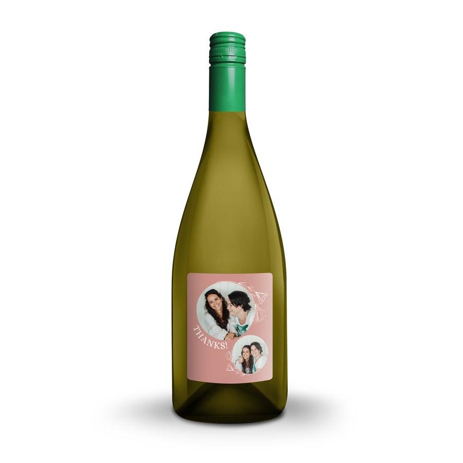 Vin med tryckt etikett - Emil Bauer Weiss Burgunder