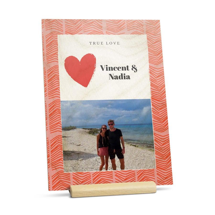 Carte Saint Valentin en bois - Portrait