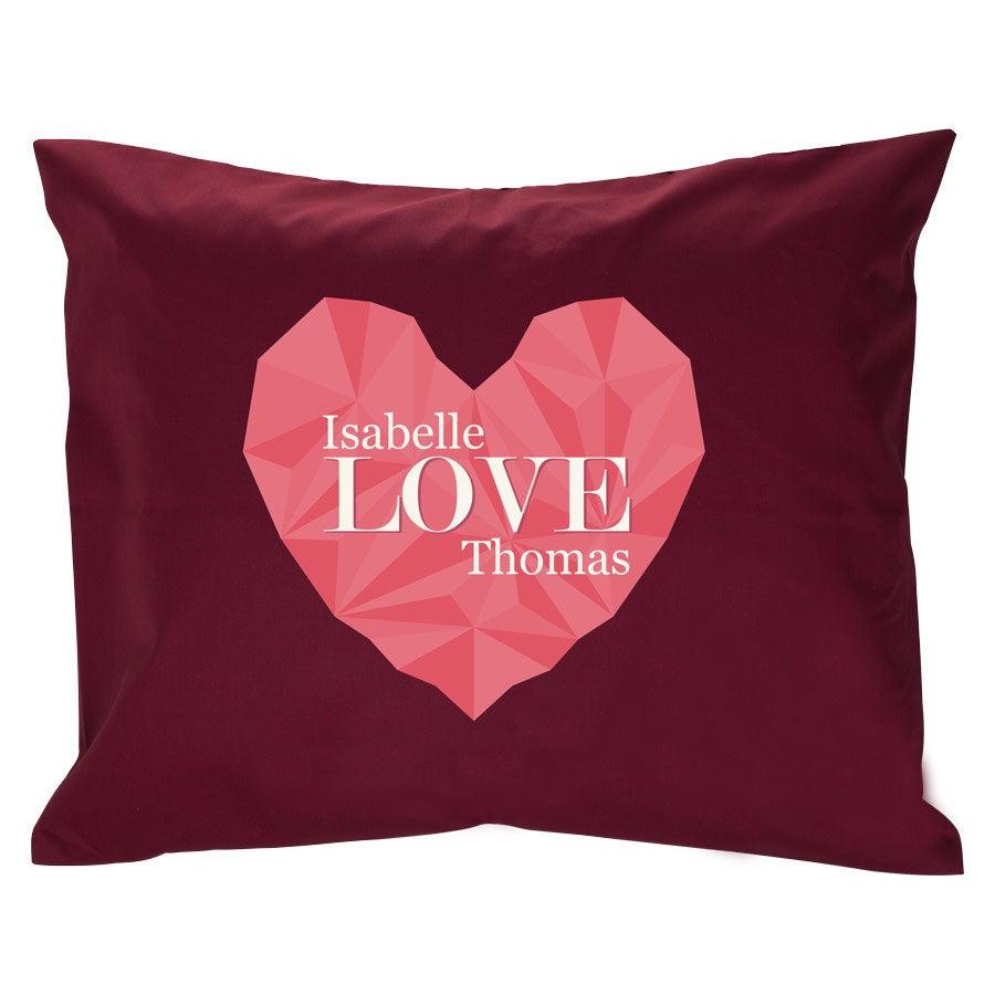 Iso tyyny omalla kuvalla - täytteellä - viininpunainen
