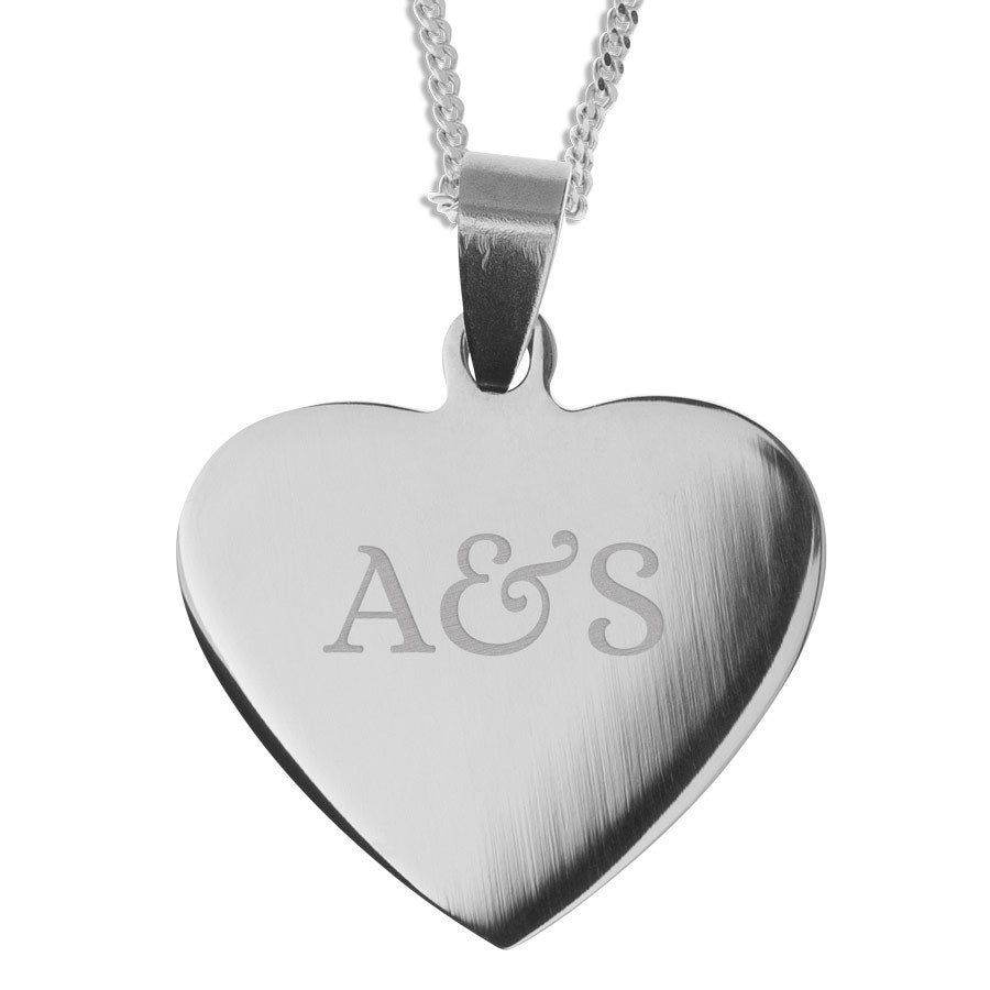 Name Pendant - Heart - Rhodium