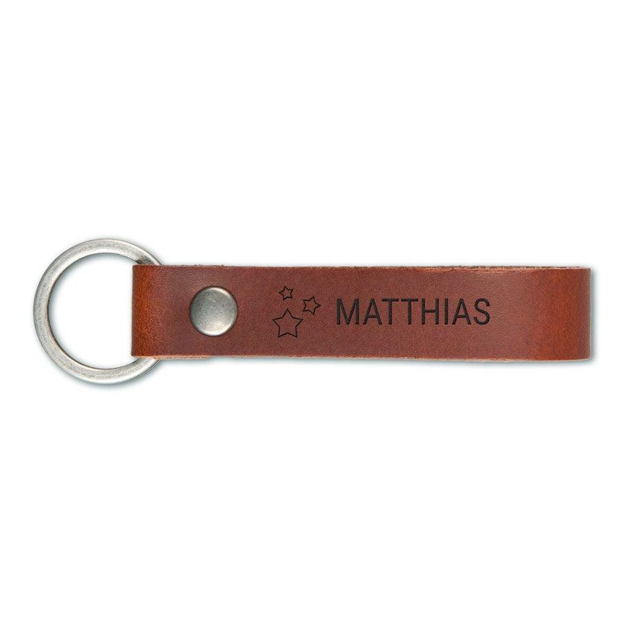 Schlüsselanhänger Leder mit Gravur - Braun - L
