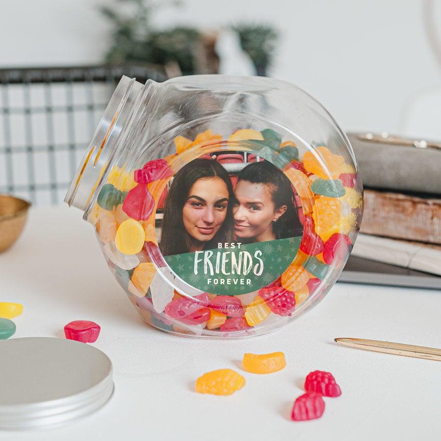 Süßigkeitenglas mit Weingummi (vegan) - Kunststoff