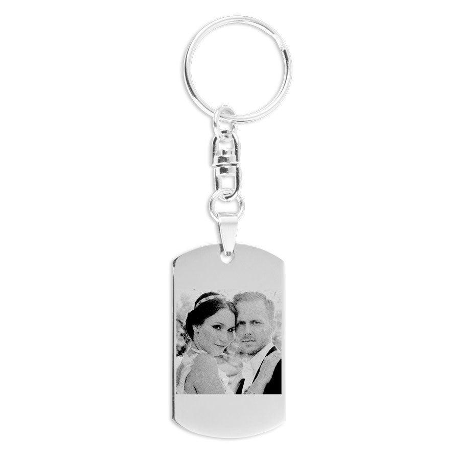 Porte-clés homme personnalisé - Gravé rectangulaire