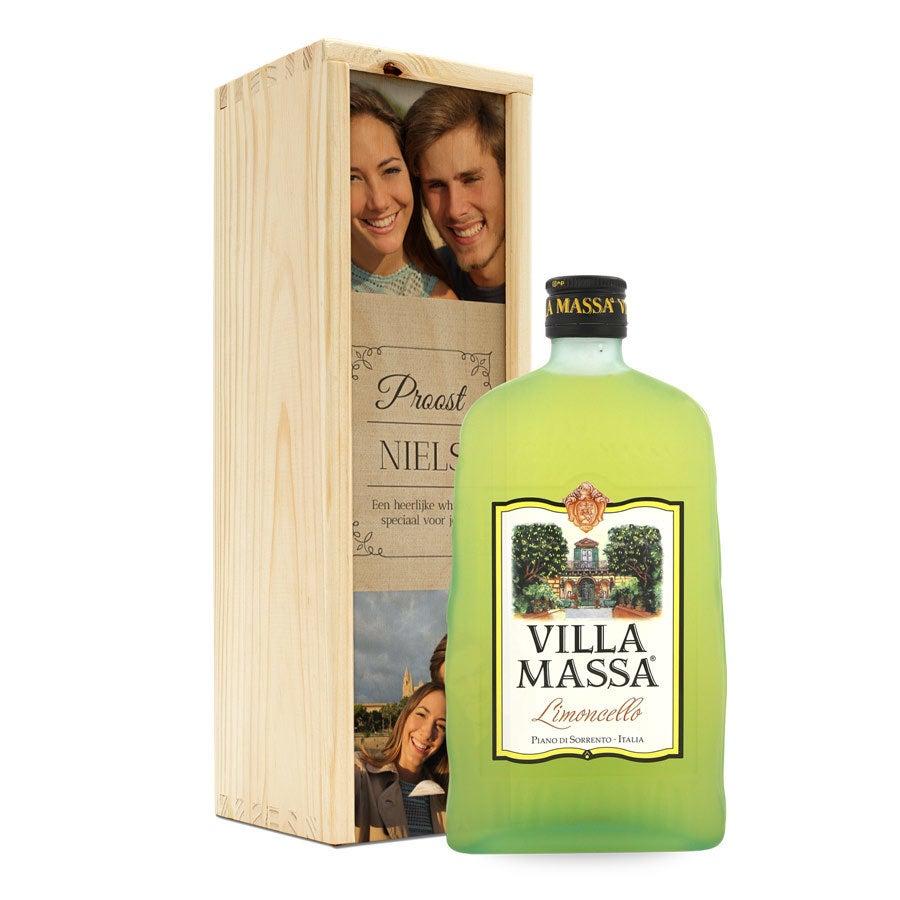 Likeur in bedrukte kist - Limoncello Villa Massa