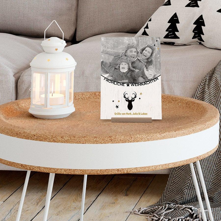 Weihnachtskarte Holz - vertikal