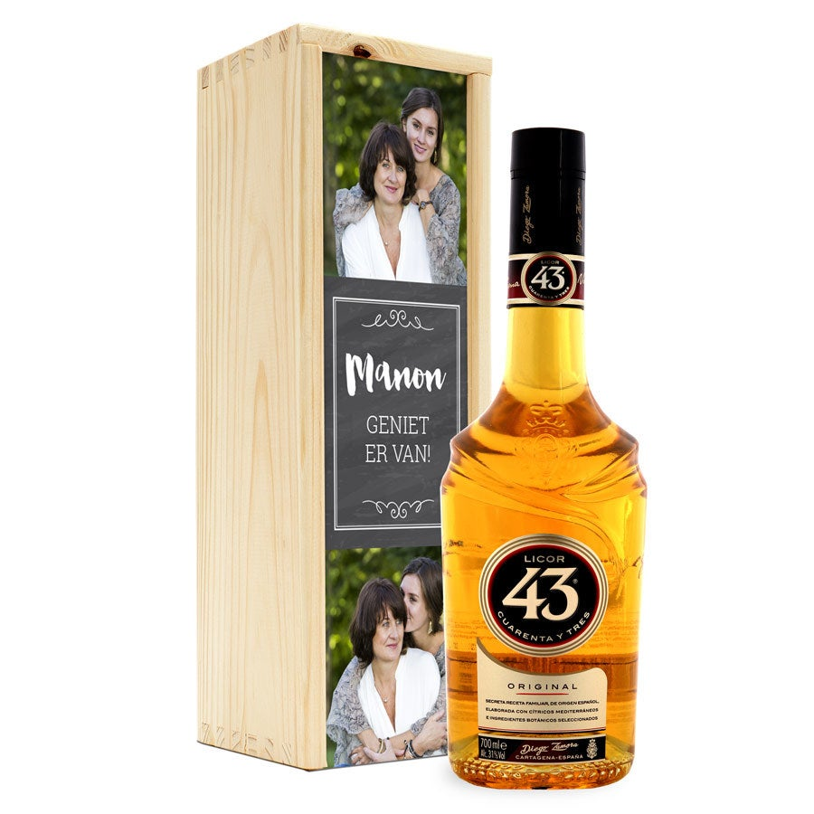 Likeur in bedrukte kist - Licor 43