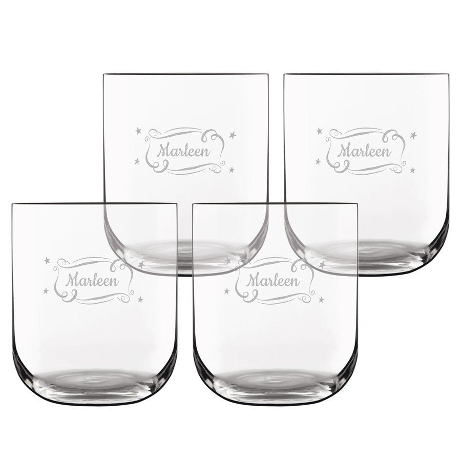 Trinkglas mit Gravur - Deluxe - 4 Stück