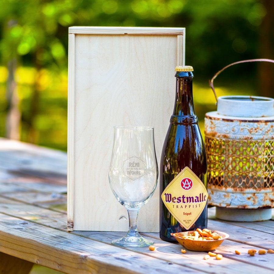 Coffret bière Westmalle Tripel et verre gravé
