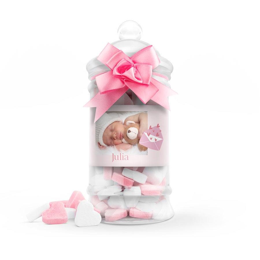 Suikerhartjes in bedrukte babyfles (roze) - groot