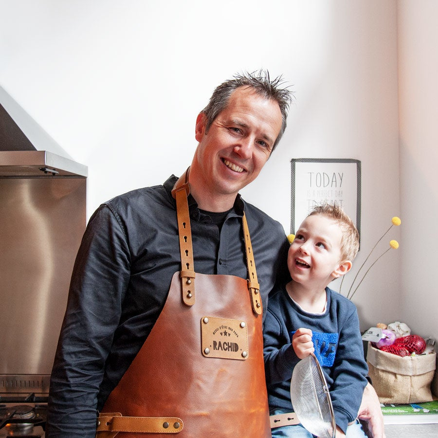 Father's Day Leather Apron - Brown