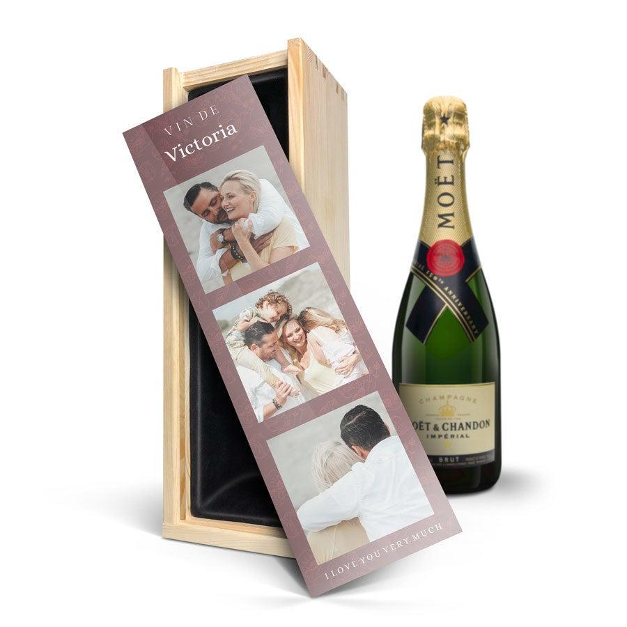 Champagne i indgraveret kasse - Moët & Chandon (750ml)