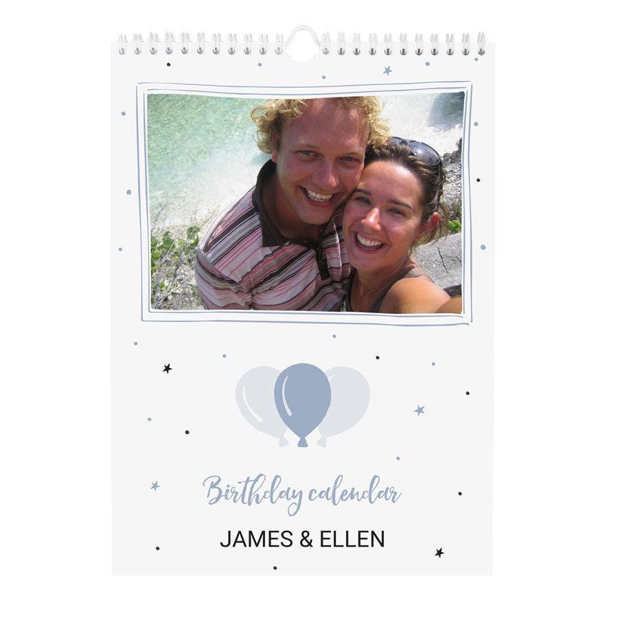 Personlig fødselsdagskalender - A4