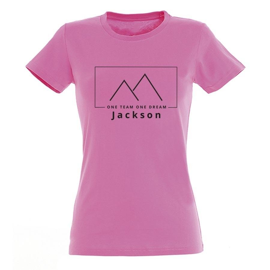 T-paita omalla painatuksella - Naiset - Pinkki - M