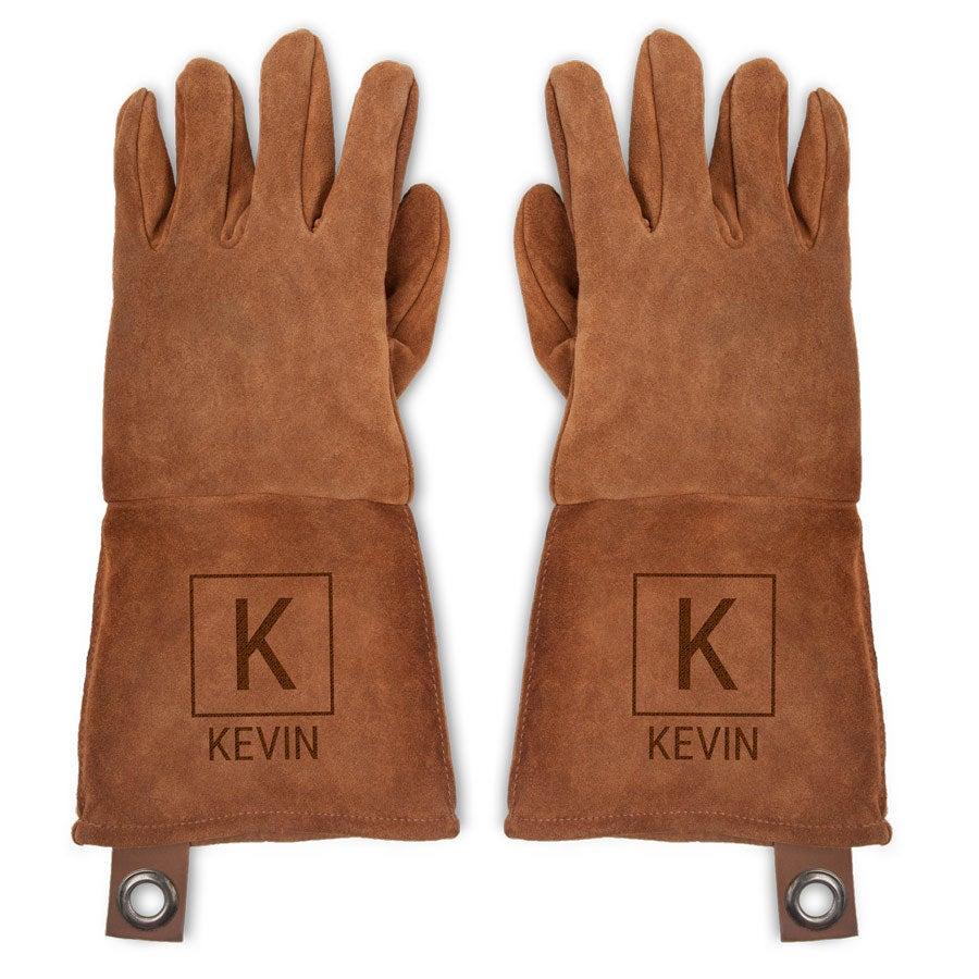 Leren BBQ handschoenen met naam