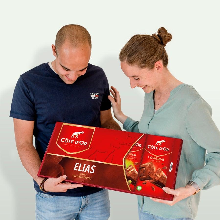 Giantisk, personlig chokoladebar fra Côte d'Or