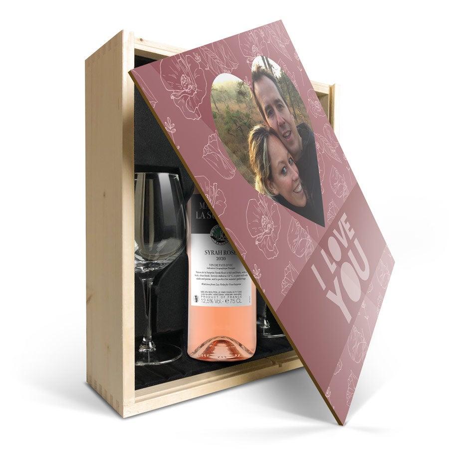 Wijnpakket met glas - Maison de la Surprise Syrah (Bedrukte deksel)
