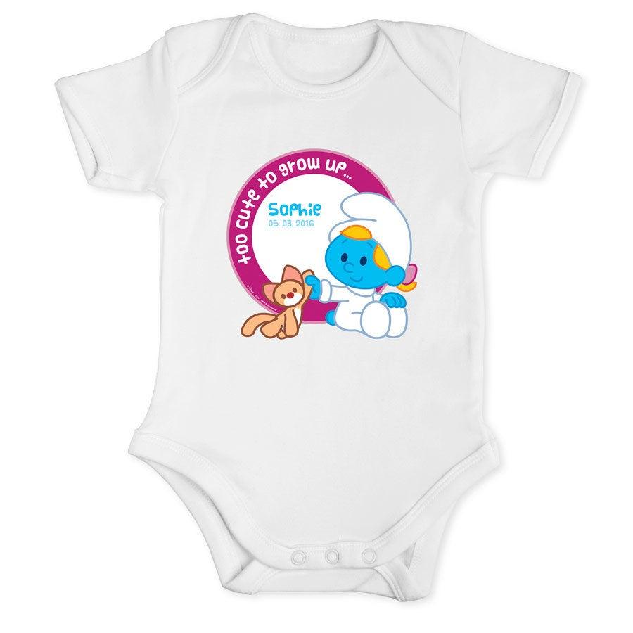Los Pitufos - Body de bebé blanco - Talla 50/56