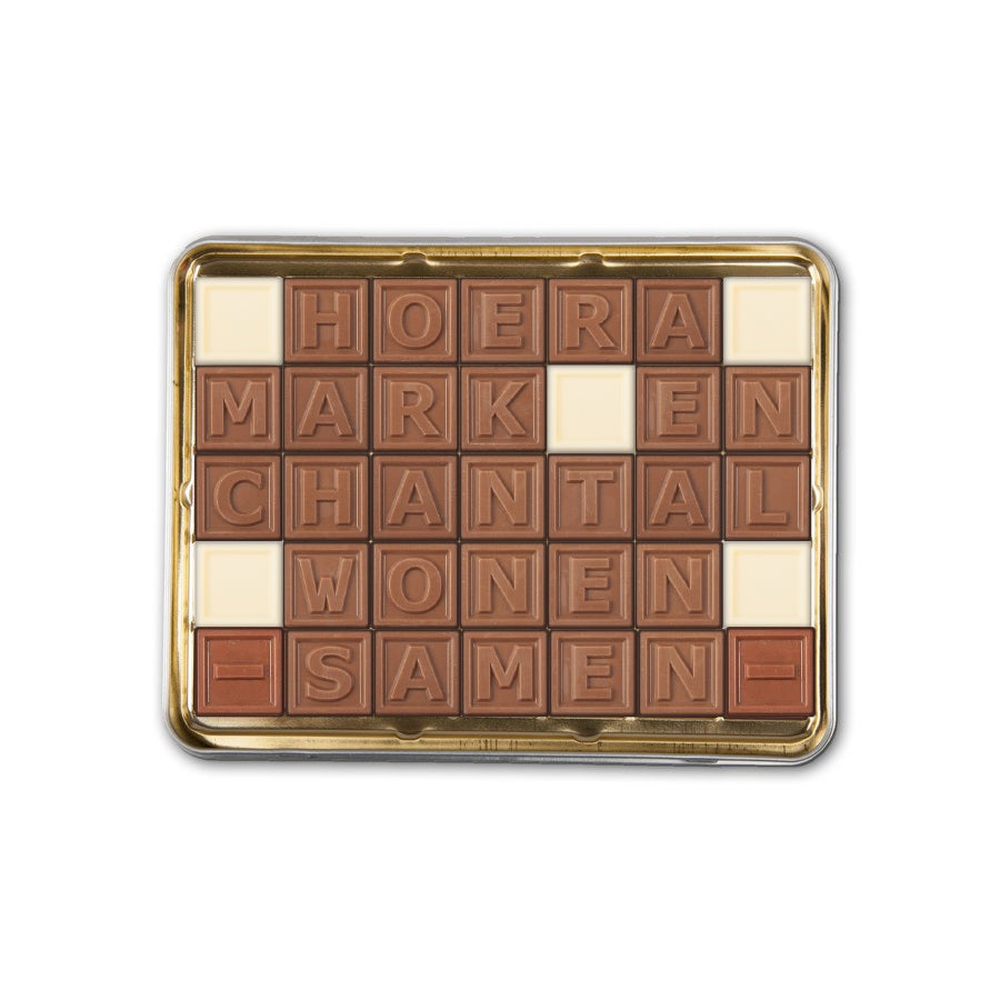 Chocotelegram in cadeaublik - 35 letters