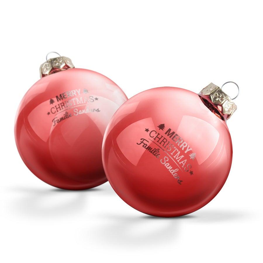 Glazen kerstbal met naam - Rood (2 stuks)