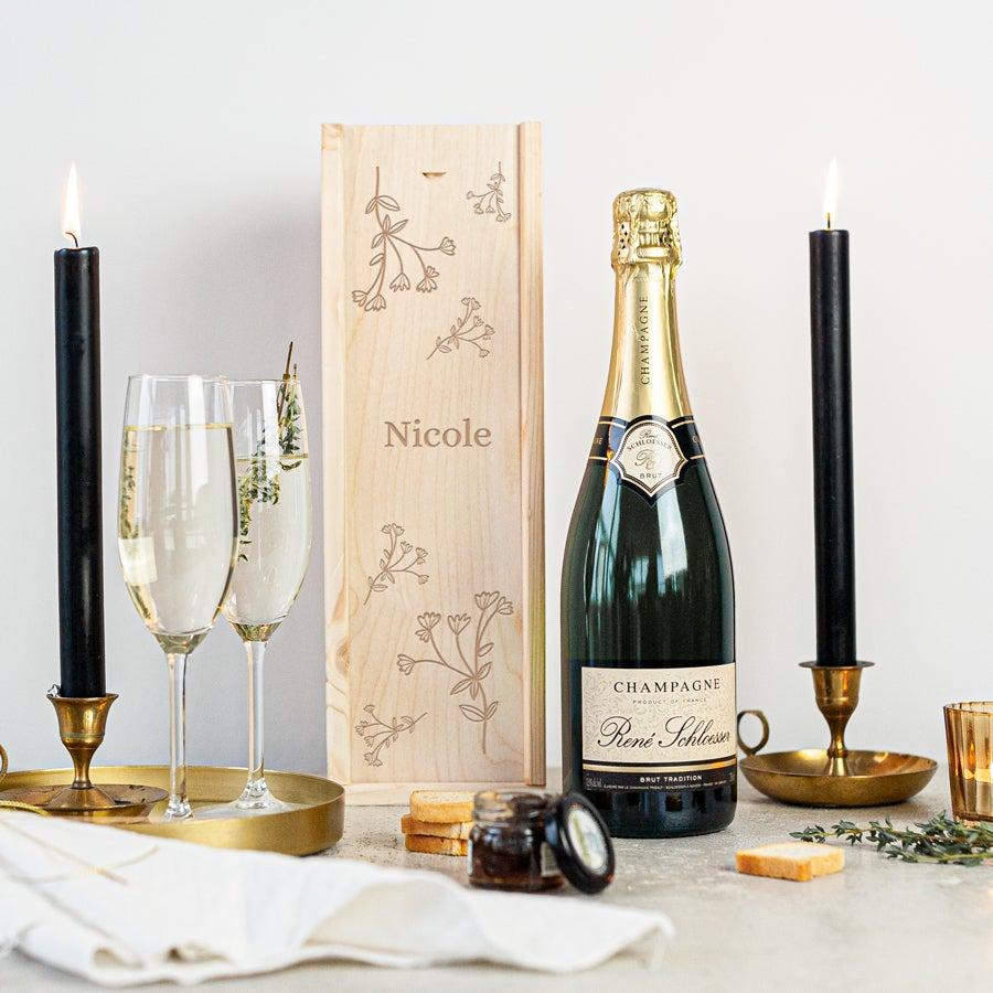 Champagner in gravierter Kiste - Rene Schloesser (750 ml)