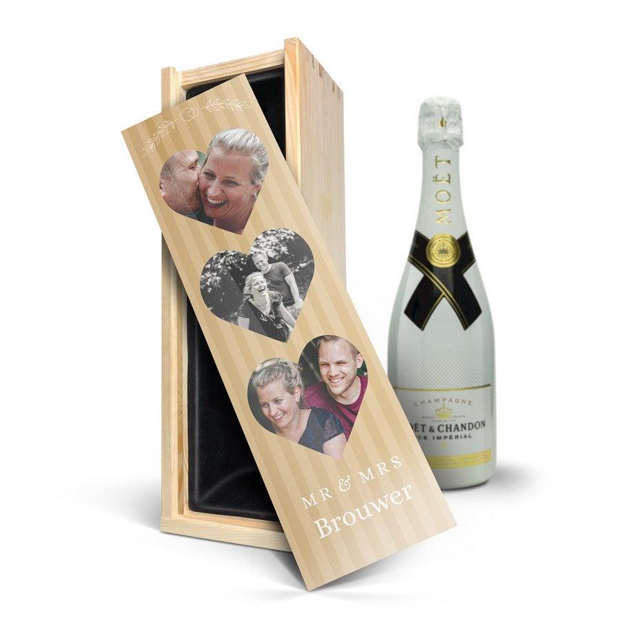 Champagne in bedrukte kist - Moët & Chandon Ice Imperial (750ml)