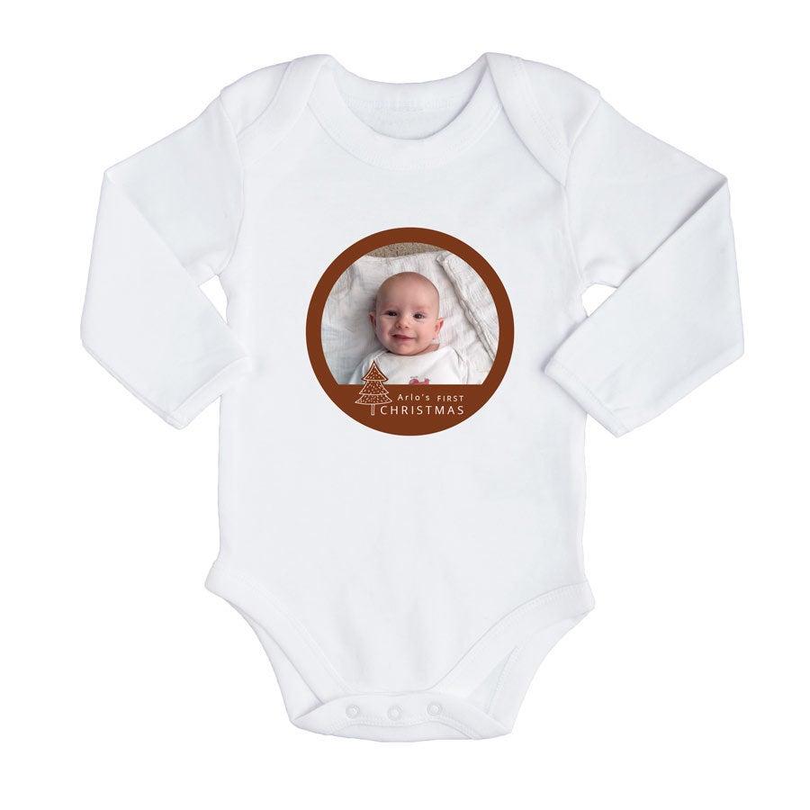 Primeiro macacão de Natal do bebê - Branco (50/56)