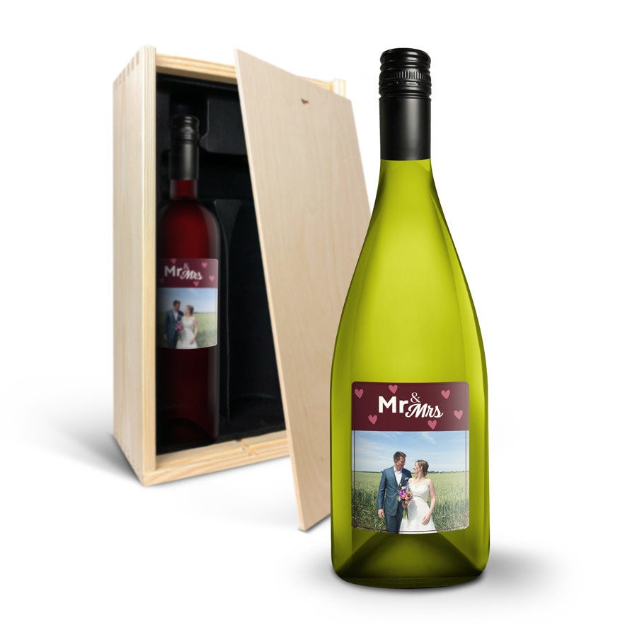 Wijnpakket met etiket - Luc Pirlet - Merlot en Chardonnay