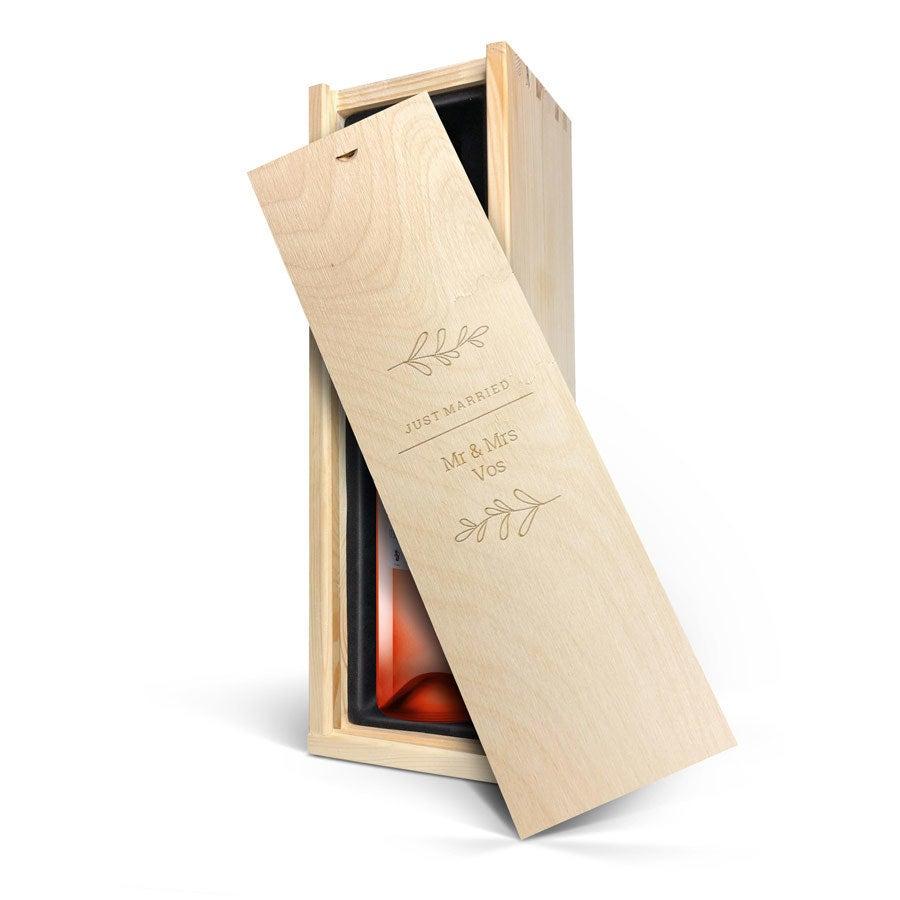 Wijn in gegraveerde kist - Belvy - Rosé