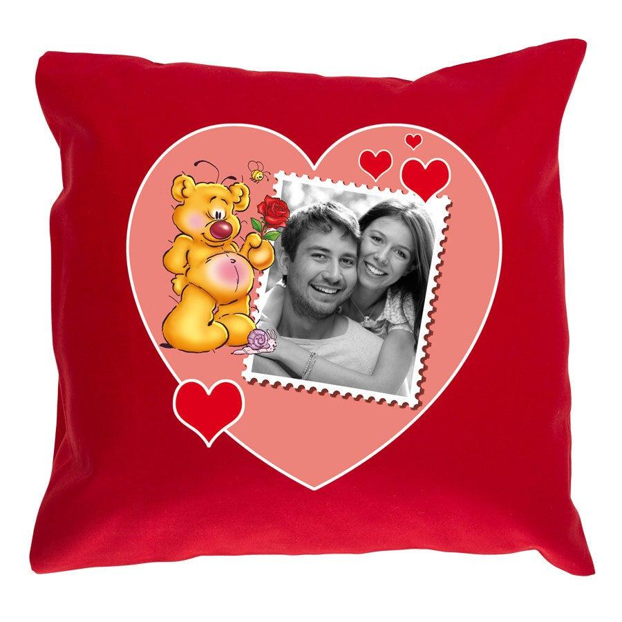 Doodles Pillow - Rød (med fylling)