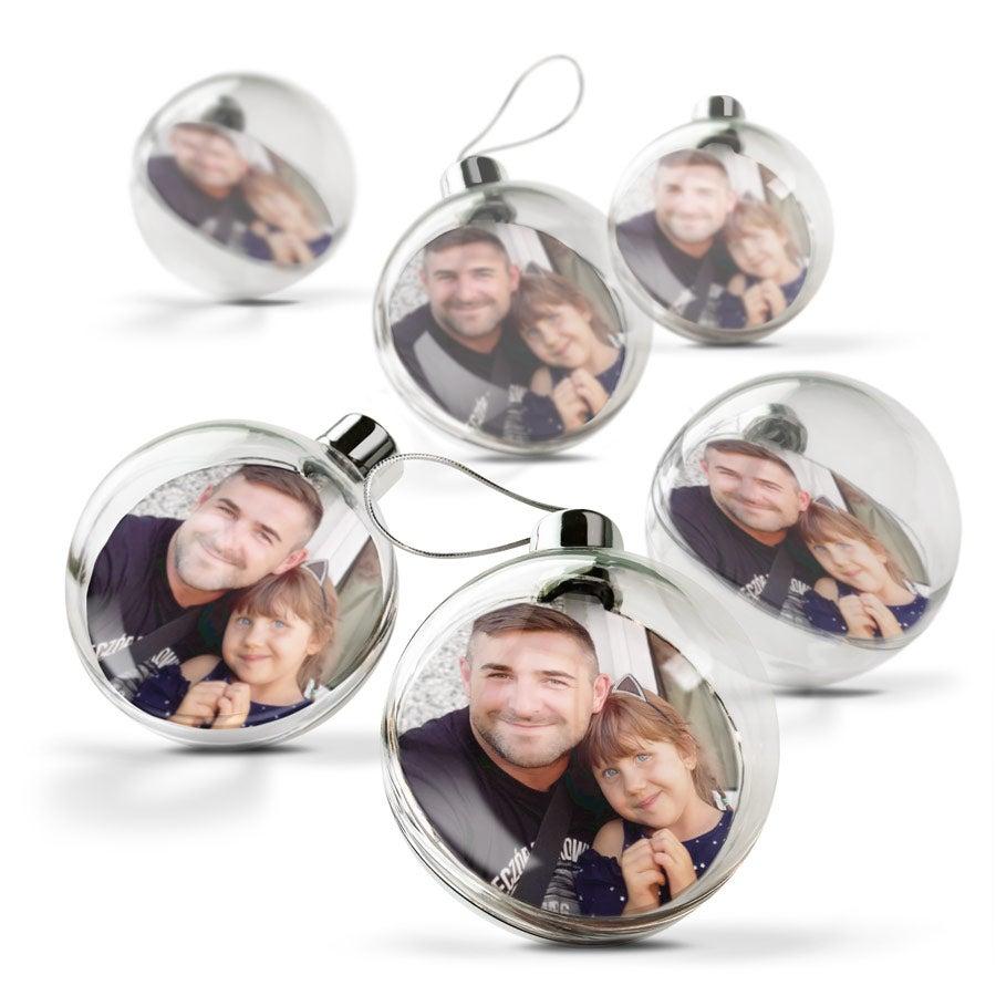 Palle di Natale con foto - Trasparente (6 pezzi)