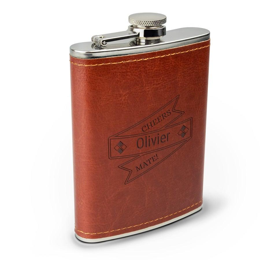 Flasque alcool gravée - Simili cuir