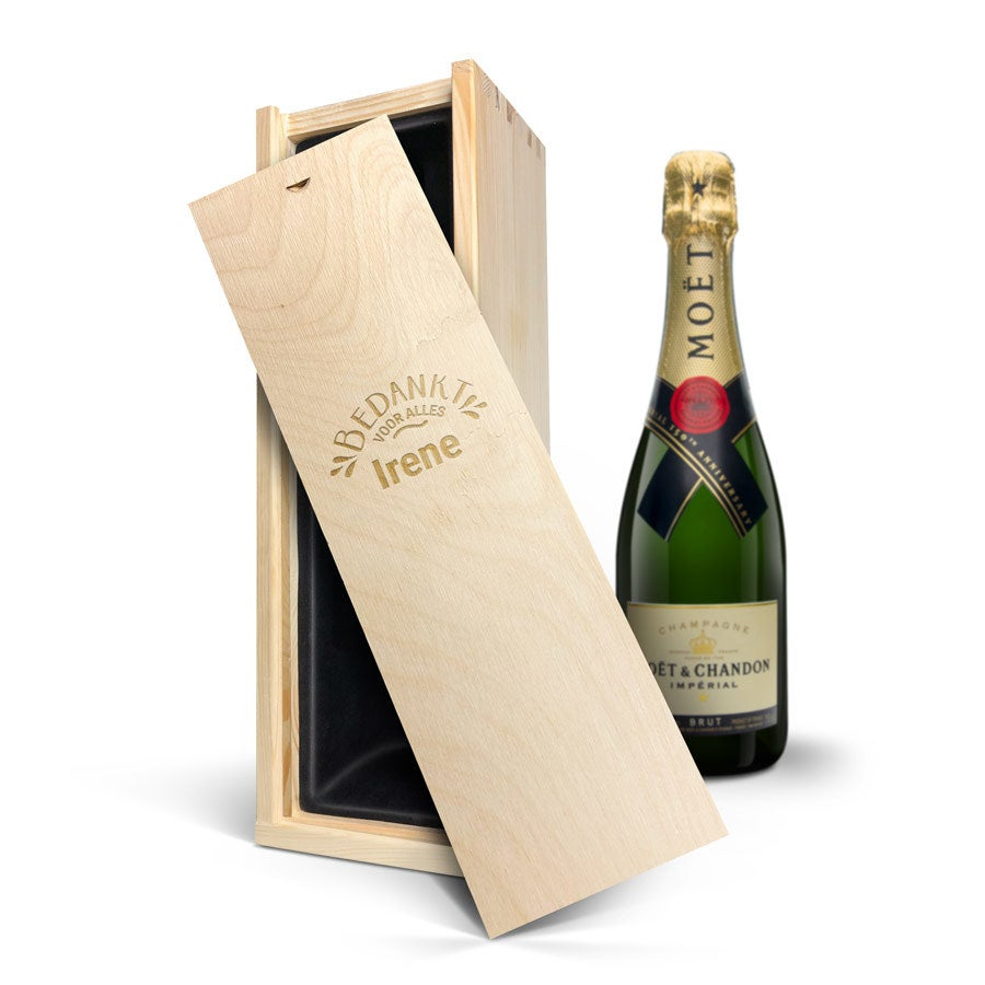 Champagne in gegraveerde kist - Moët & Chandon (750ml)