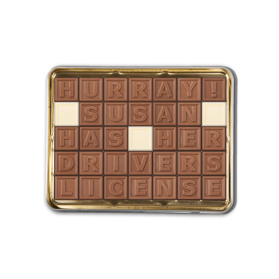 Chocolate telegram in tin - 35 characters
