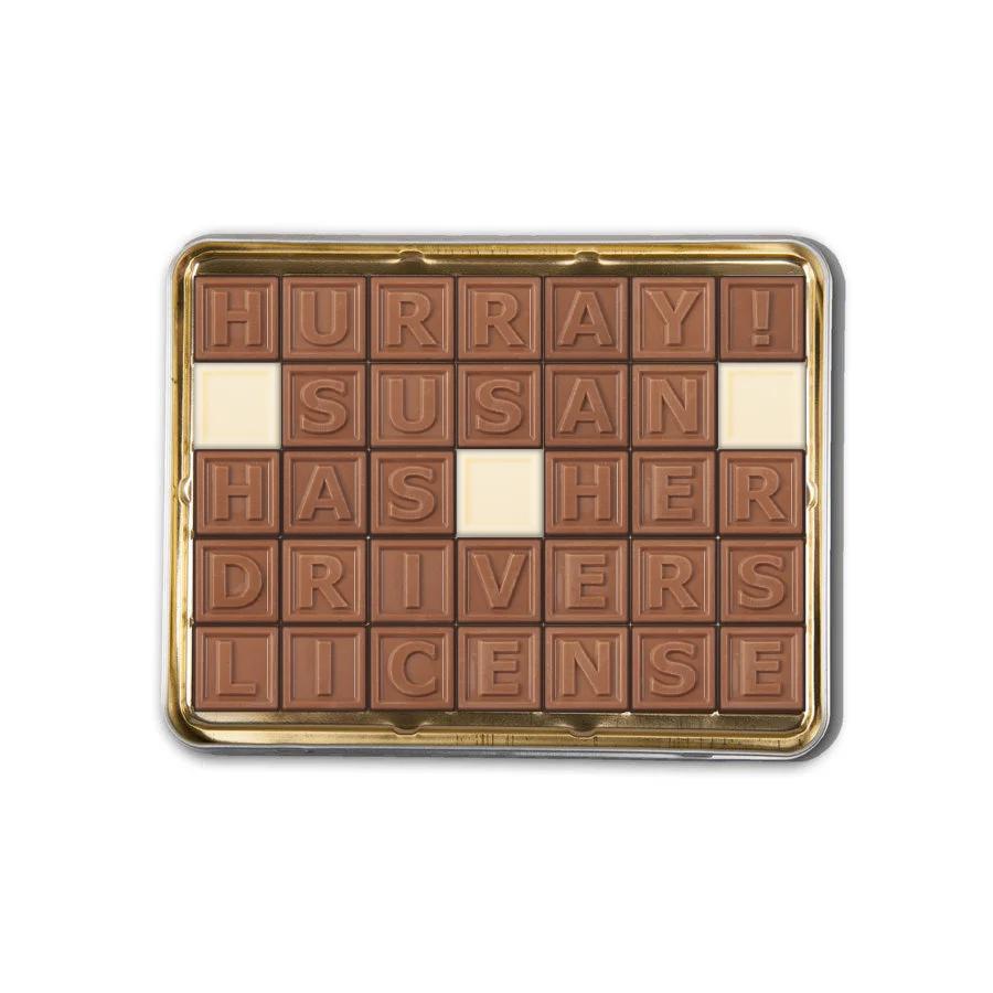 Telegrama de chocolate em lata - 35 caracteres