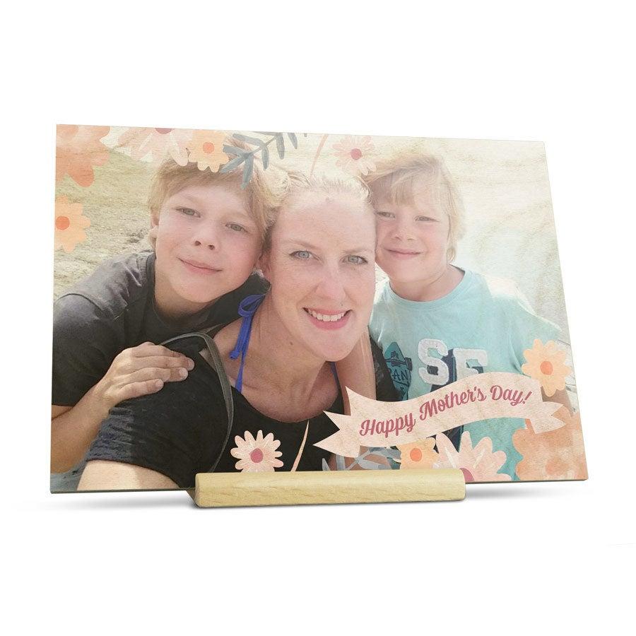 Cartão do dia das mães de madeira - horizontal