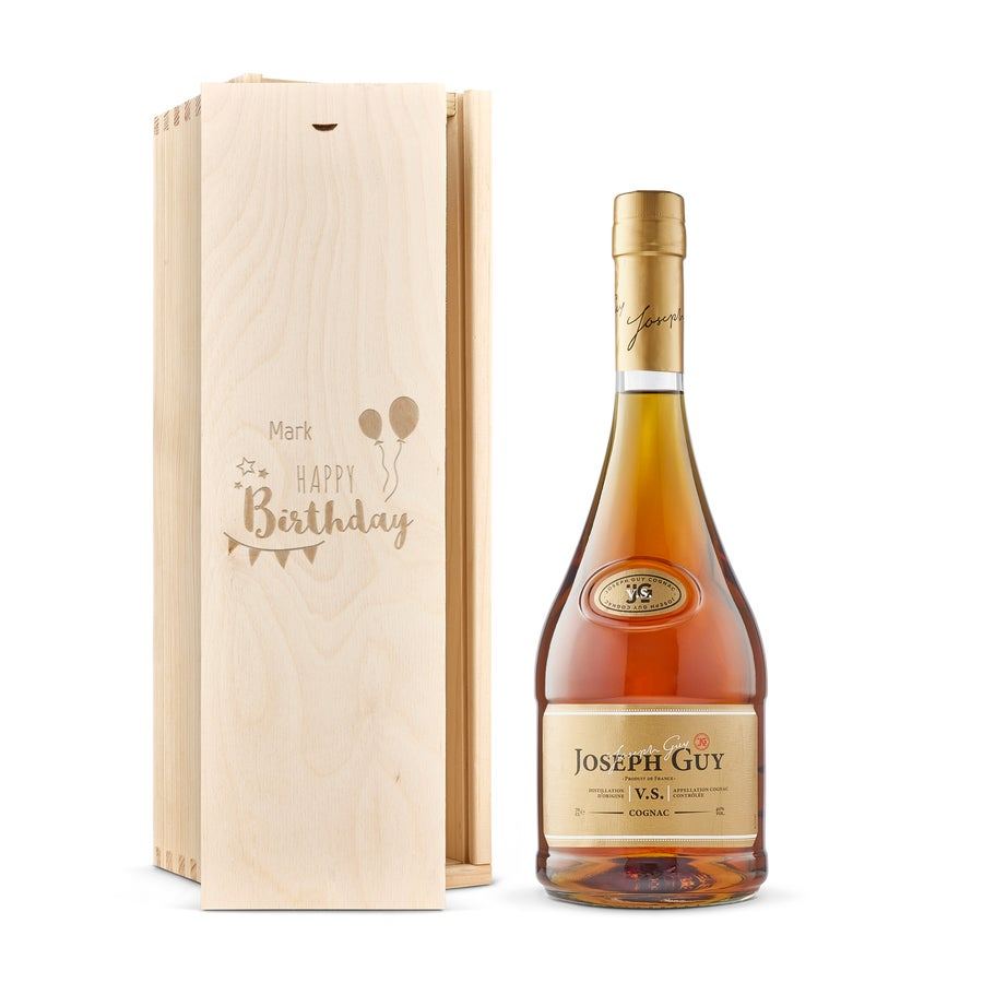Cognac - Joseph Guy VS - Holzkiste mit Gravur