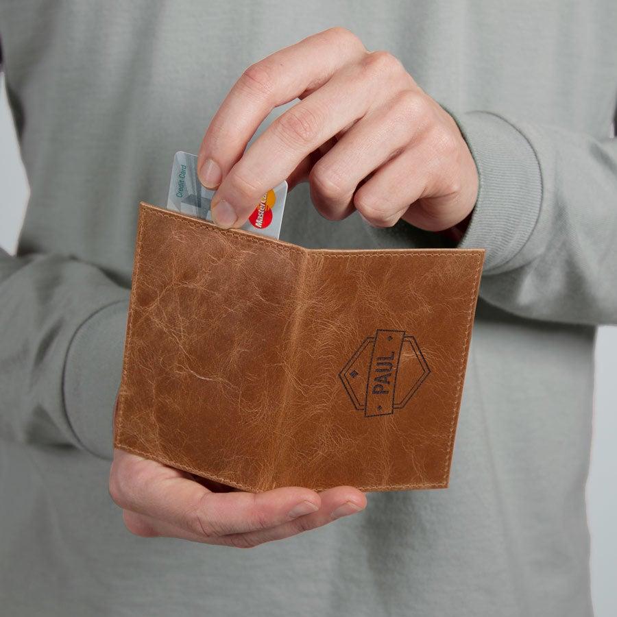 Graveret læder kortholder - Brun