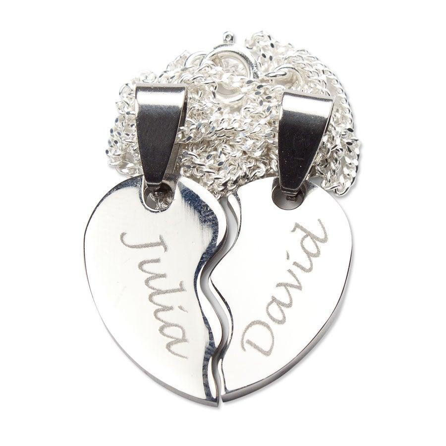 Zilverkleurige naamhanger - Gebroken hart - Edelstaal