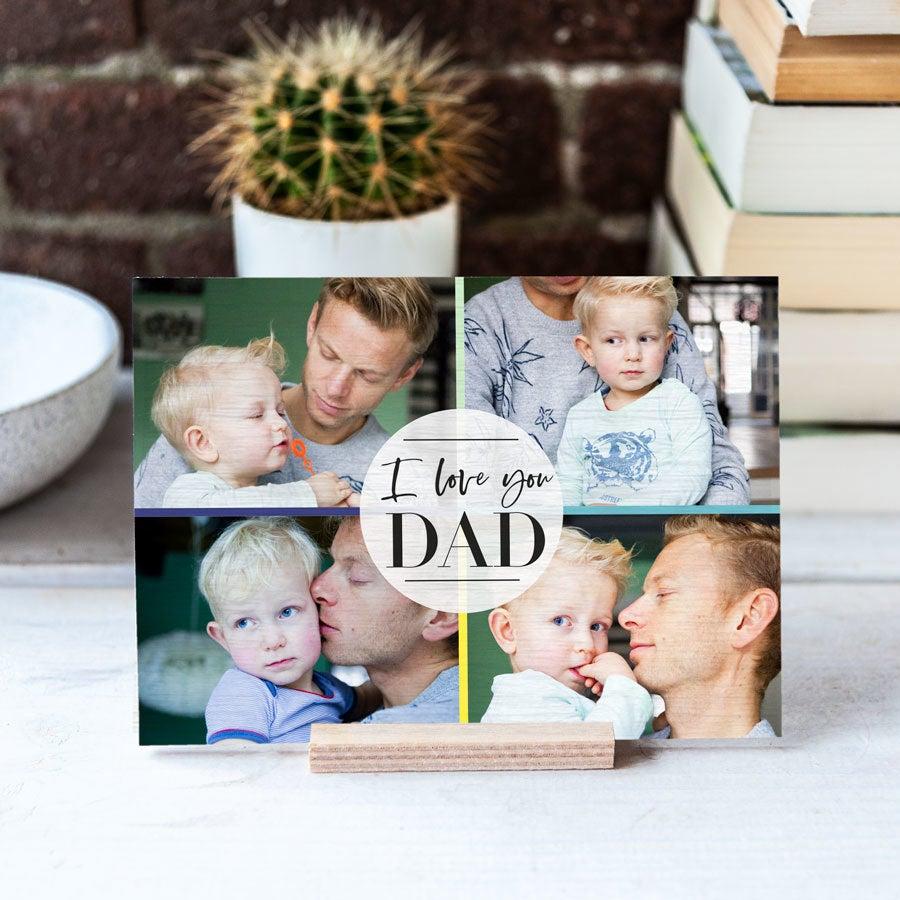 Dřevěné Den otců karta - horizontální