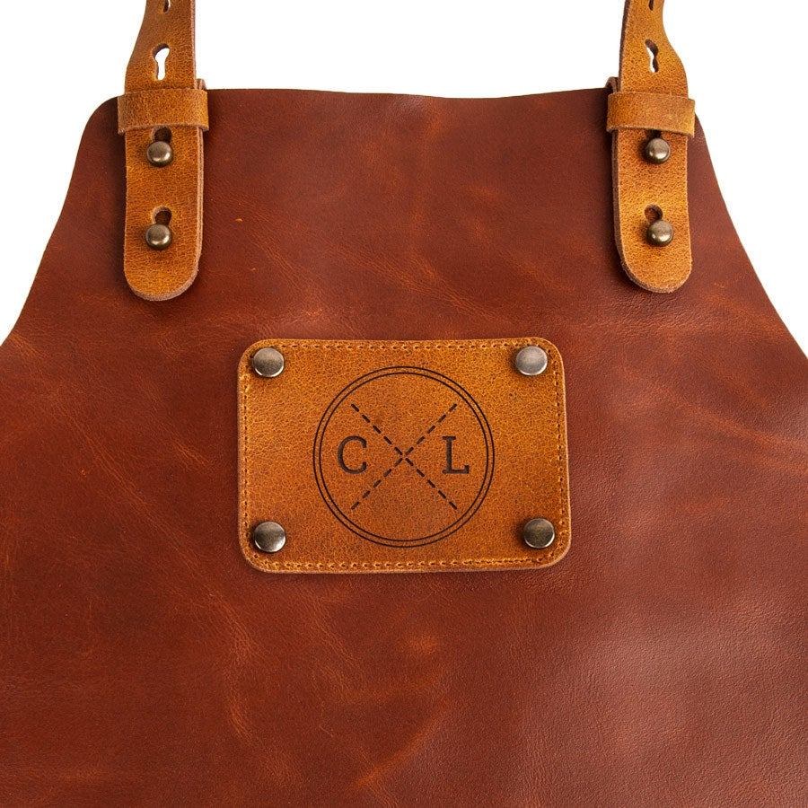 Personalised leather apron - Brown