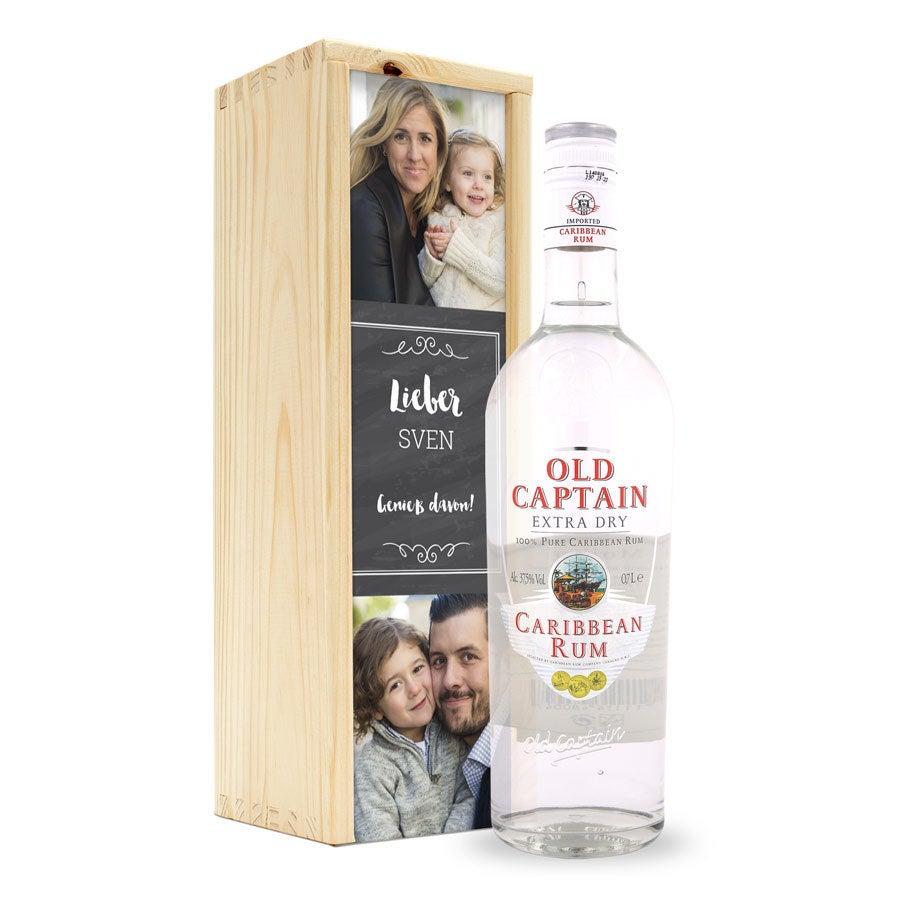 Rum Old Captain Weiß - Kiste mit Gravur